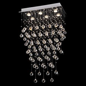Contemporary 6-Light Galaxy Rectangular Crystal Chandelier, 14W x 24L x 40H