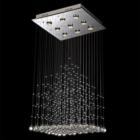 "Contemporary 9-Light Square Pyramid Crystal Chandelier, 20""W x 28""H"