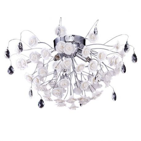 6-Light Rose Lamp Shade Flush Mount, 26W x 12H