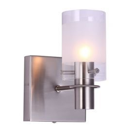 "1-Lights Satin Nickel Finish Bathroom Wall Light, 5"" Width"