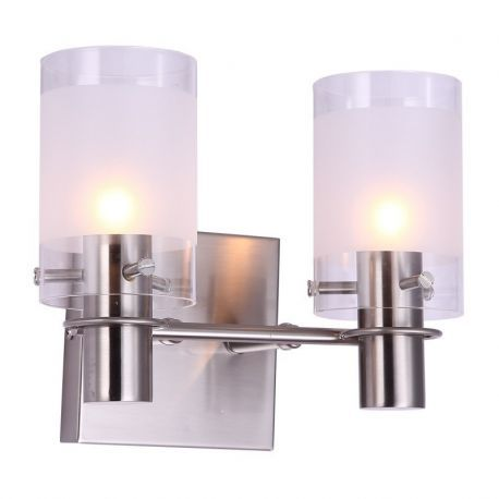 "2-Lights Satin Nickel Finish Bathroom Wall Light, 10"" Width"