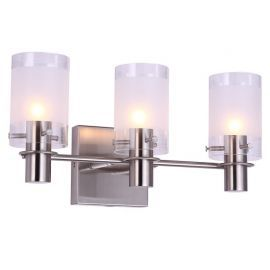 "3-Light Satin Nickel Finish Bathroom Wall Light, 16"" Width"