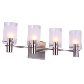 "4-Light Satin Nickel Finish Bathroom Wall Light, 22"" Width"