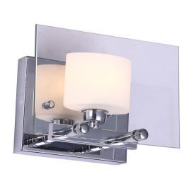 "1-Light Chrome Finish Bathroom Wall Light, 8"" Width"