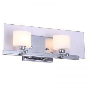 "2-Light Chrome Finish Bathroom Wall Light, 16"" Width"