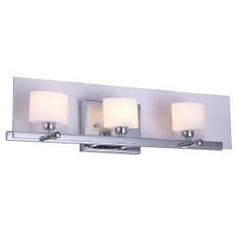 "3-Light Chrome Finish Bathroom Wall Light, 22"" Width"
