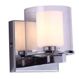 "1-Light Chrome Finish Bathroom Wall Light, 5"" Width"