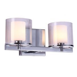 "2-Light Chrome Finish Bathroom Wall Light, 13"" Width"