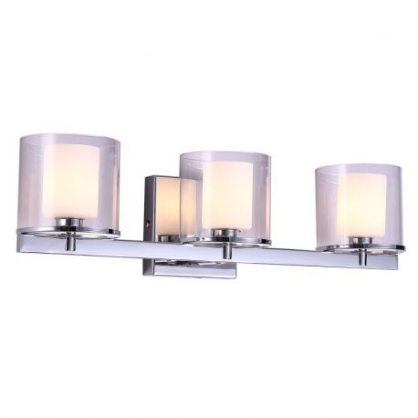 "3-Light Chrome Finish Bathroom Wall Light, 21"" Width"