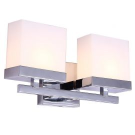 "2-Light Chrome Finish Bathroom Wall Light, 14"" Width"