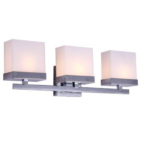 "3-Light Chrome Finish Bathroom Wall Light, 23"" Width"