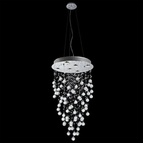 "6-Light Contemporary Galaxy Crystal Chandelier for Regular or Vaulted Ceiling, 20"" x 75"""