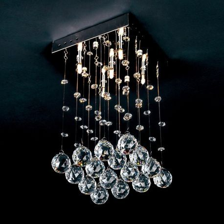 Contemporary Crystal Square 5-Light Chandelier, Flush Mounted