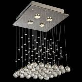 "4-Light Flat Crystals Square Chandelier, 12"" x 12"" x 21"""