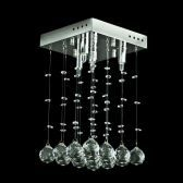 "Contemporary Crystal Square 4-Light Crystal Chandelier, Flush Mounted, 8"" x 8"" x 12"""