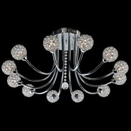 "Contemporary 12-Light Ceiling Fixture w/ 12 Wire Balls, 30"" x 14"""