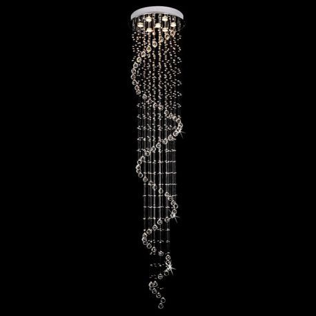 Contemporary 7-Light Spiral Crystal Chandelier, 20W x 98H