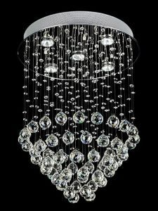 "5-Light Contemporary Crystal Chandelier, 18""D x 24""H"