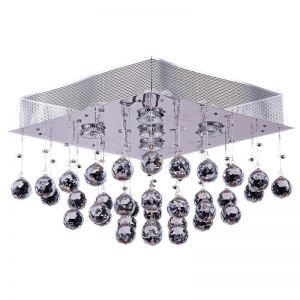 "5-Light Contemporary Cone Crystal Square Chandelier, 16""D x 12""H"