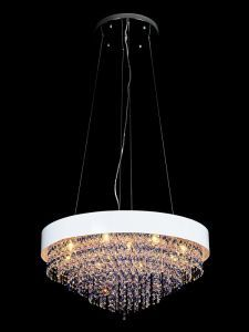 "8-Light Contemporary Pendant, White Finish, 32""D x 48""H Max"