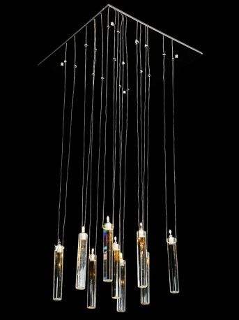 "9-Light Contemporary Chandelier w/ Square Crystals, 20""D x 44""H"