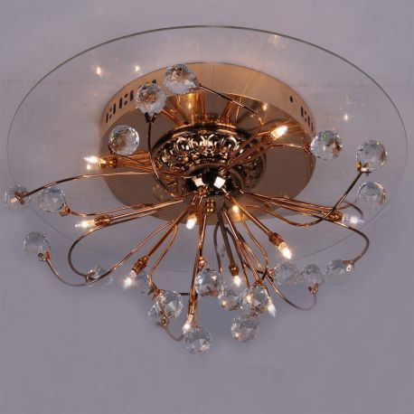 Modern 10-Light Ceiling Fixture, Gold