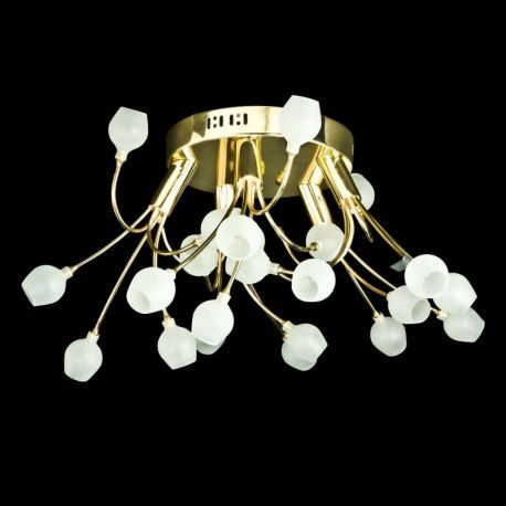European Contemporary 25-Light Ceiling Fixture, Gold Finish