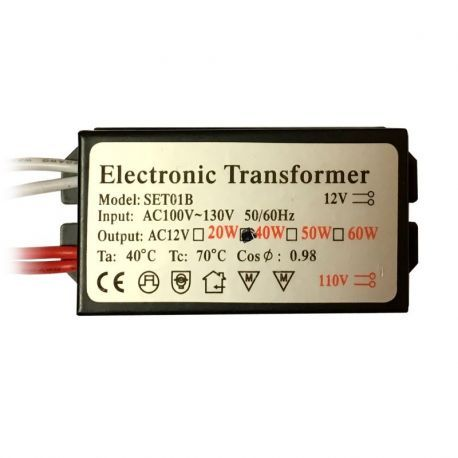 Electronic Halogen Transformer, Low Voltage, 12V 40W, OEM