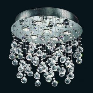 Modern 7-Light Crystal Glass Flush Mounted Rain Chandelier