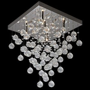 "5-Light Crystal Square Flush Mounted Chandelier, 16"" x 16"""