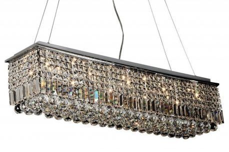 "10-Light Crystal Quantum Rectangular Chandelier, 40""L X 10""W X 40""H"