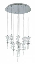 Fluted Crystal 16 Light Pendant