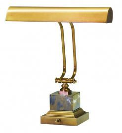 "14"" Weathered Brass/Black and Tan Marble Piano/DeskLamp"