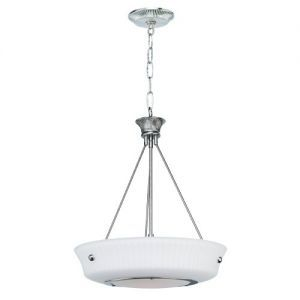 1-Light Classic Foyer Pendant, Satin Chrome Finish, Frosted Glass