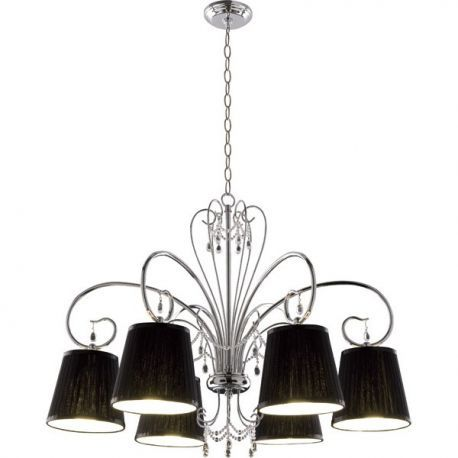 6-Light Chrome Chandelier 60-Inch Max Height