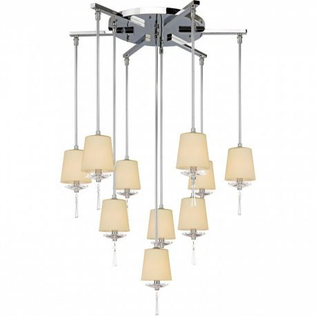 10-Light Contemporary Chrome Finish Chandelier, Creme Shades