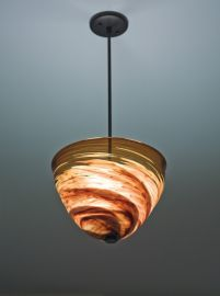 "Agua Viva 7x17 Pendant Incandescent Dark Amber 29"" OA Drop Brushed Nickel Hardware Ceiling Fixture"