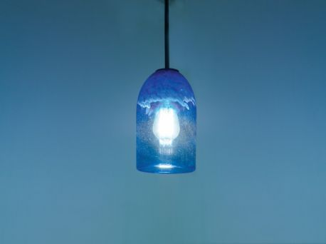 "Rose Cylinder Pendant Incandescent 17"" OA Drop Clear Blue Ceiling Fixture"