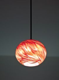 "Rose Globe Pendant Incandescent 33"" OA Drop Red Hot Ceiling Fixture"