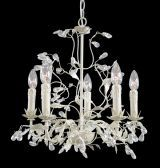 Rt26 5 Light Silver / Crm Leaf Clear Crystal Ceiling Fixture