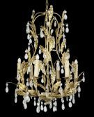 Rt58 6 Light Gold Leaf Clear Crystal Ceiling Fixture