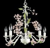 Rt77 5 Light White Frame Pink Flowers Ceiling Fixture