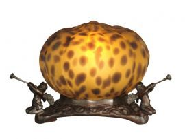 Ta10877 Pumpkin With 3 Cherubs Accent Lamp