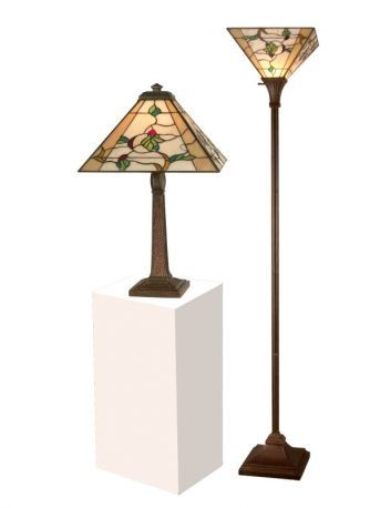 Tc11174 Green Leaves Table And Torchiere Lamp Set