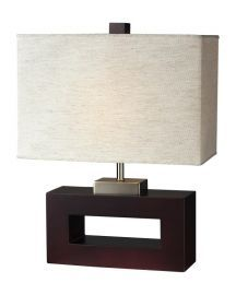 TL105 1 Light Table Lamp, Mahogany Finish/Flax Linen