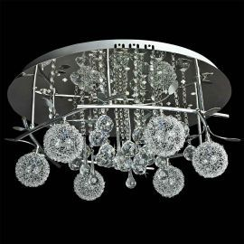 Contemporary 6-Light Crystal Ceiling Fixture, 23 3/4 x 10