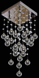 4-Light Crystal Square Chandelier, Flush Mounted